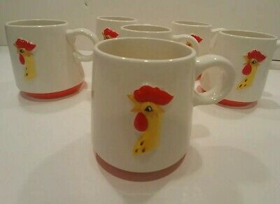1960 Holt.Howard coq rouge rooster cocoa mugs, Set of 6, White with Red & Yellow