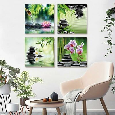 Frameless Zen Stone and Flower Home Decoration Poster 4 Panel Painting
