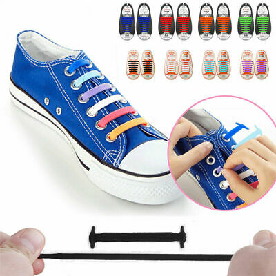 Kids Adults Silicone Easy No Tie Shoe Laces Trainers Canvas Shoes ShoeLaces UK