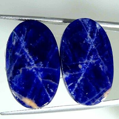 21.40Cts Natural Blue Sodalite Pair Oval Cabochon Loose Gemstone