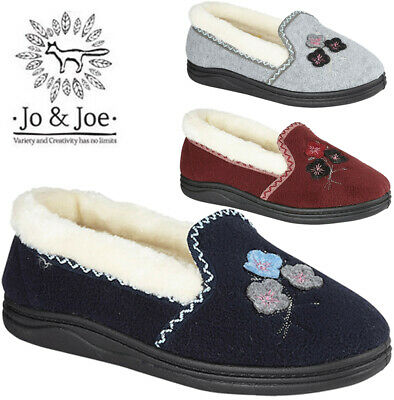 Ladies Moccasin Comfort Textile Fur Lined Slip On  Mules Warm Winter Women Shoes