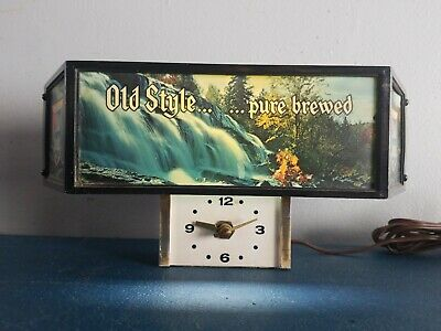 (VTG) 1980s old style beer back bar clock light up waterfall lake sign game room