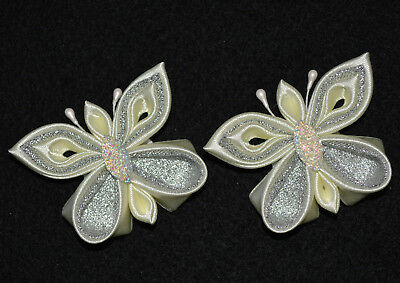 Pair of Handmade Girl's/Baby Butterfly Hair Clips/Bows, Kanzashi Style, Wedding