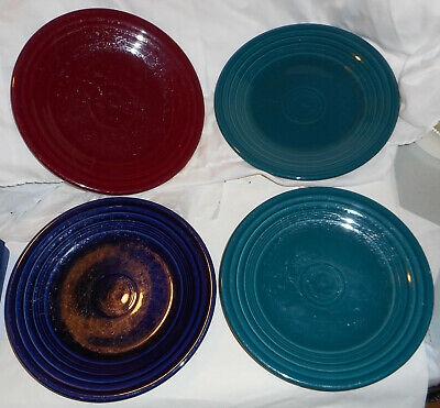 "FIESTAWARE, Homer Laughlin. Four Colors in 9"" Dinner Plates"