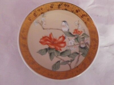Fab Vintage Japanese Porcelain Bird In Flowering Tree Design Plate 10 Cms Dia