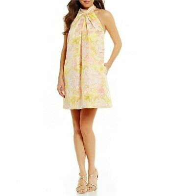 BELLE BADGLEY MISCHKA $179-NEW- Womens Halter Dress Yellow-Pink -Size:10