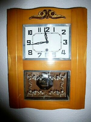 Vintage French Wooden Cased Wall Clock