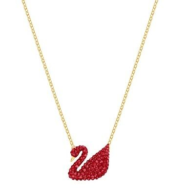 Iconic Swan Pendant, Red Crystal Gold Tone Plated 2019 Swarovski Jewelry 5465400