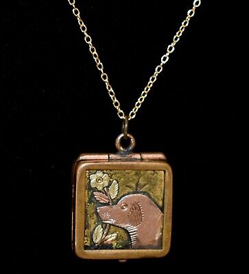 Fabulous! ANTIQUE Lab RETRIEVER  Victorian DOG LOCKET Necklace FREE GIFT CUTE!!!