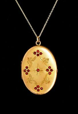 ABSOLUTELY Fabulous! ANTIQUE Victorian GF Ruby Red JEWELED LARGE LOCKET Necklace