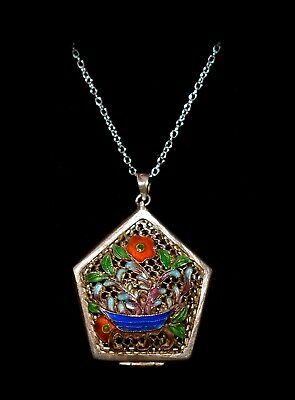 Pretty ANTIQUE *FLORAL ENAMEL VINAIGRETTE*Double Sided STERLING Pendant Necklace