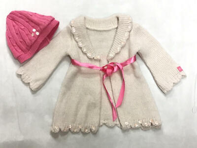 AMERICAN GIRL pale pink SWEATER & pink KNIT HAT SET
