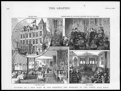 1886 Antique Print - LONDON City Road Hospital Chest Diseases New Wing  (82)