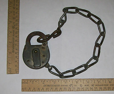 CORBIN LOCK with CHAIN - marked NPR on LOCK - NO KEY - Northern Pacific Railroad