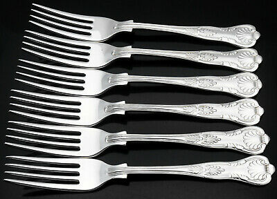 Kings Pattern - Set Of 6 Silver Plated Side / Dessert Forks - Sheffield Vintage