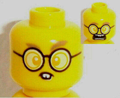 Black Eyebrows Pattern Lego Yellow Minifig Head x 10 Dual Sided Beard Stubble