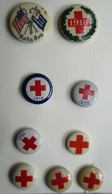 Lot of NINE WWI & Early 1920s RED CROSS Pinback Buttons