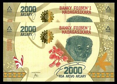 Madagascar 2000 Ariary ND 2017  P-NEW Beautiful Design UNC 2 Notes