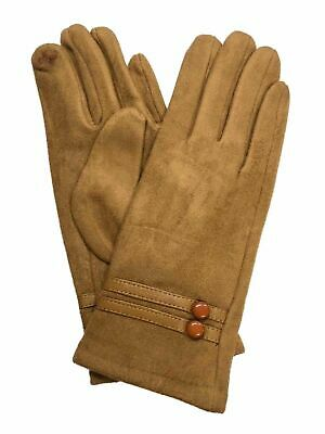 Womens Camel Tan Button Sude-Look Stretch Fit Texting & Tech Touchscreen Gloves