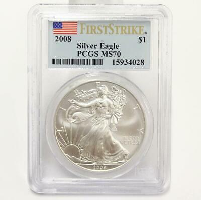 2008 $1 PCGS MS70 Mint State American Silver Eagle .999 First Strike