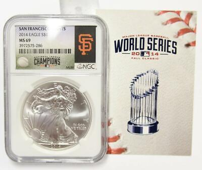 2014 American Silver Eagle $1 Coin ASE NGC MS 69 SF Giants National Champions