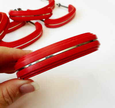 Lot of 10 Vintage Red Bakelite Style Hard Plastic Drawer / Door Pulls Handles
