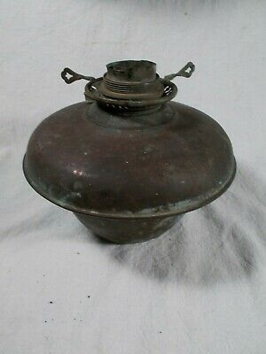 Victorian Brass Oil Lamp Font with Round Wick Burner for parts or Resoration