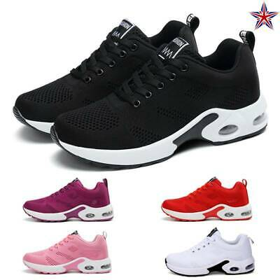 Womens Mesh Air Cushion Trainers Breathable Sneakers Sports Gym Running Shoes UK