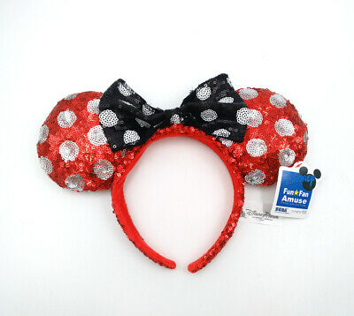 Disney Parks Gift Minnie Mouse Ears Mickey Black Bow Spot Red Sequins Headband