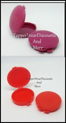 Tupperware NEW Set of 4 Mini Clamshell Pill Keepers Round Pocket Containers