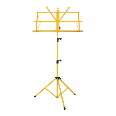 High Quality Sheet Music Metal Stand Holder Folding Foldable with Bag Yellow