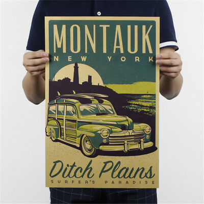 montauk new york kraft paper posters customer bedroom background wall stickersFS