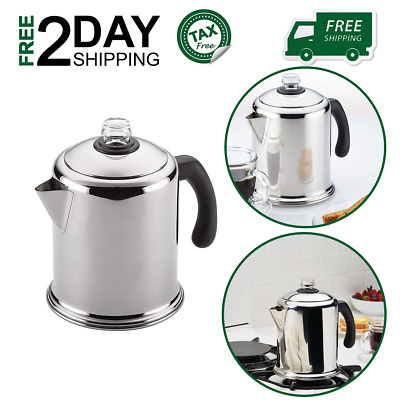 8 Cup Stovetop Percolator Coffee Pot Classic Stainless Steel Yosemite Durable