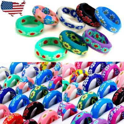 100/80pcs Wholesale Mixed Lots Colorful Flower Pattern Resin Rings Jewelry US