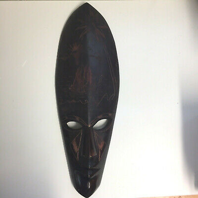 Vintage Hand Carved Wooden Tribal Mask Pacific Islands Collectable