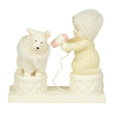 Dept 56 SNOWBABIES Figurine PUPPY DOG BLOW DRY Snow Baby Statue BATH HAIR DRYER
