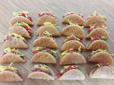 20 Pcs Dollhouse Miniatures Food & Groceries Supply Handcrafted Mexican Tacos