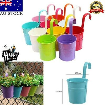 4PCS/Set Flower Pot Hanging Pots Balcony Garden Plant Metal Hook Iron Planter AU