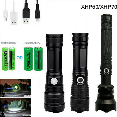 Powerful XHP50/XHP70 LED Flashlight Zoomable LED Torch Light USB Rechargeable