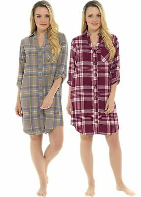 Womens Ladies Undercover Brushed Cotton Traditional Button Nightshirt Nightie