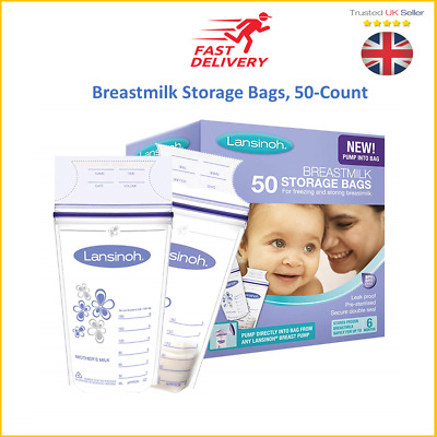 Breast Milk Storage Bags Baby Food Pouches Breastfeeding Lansinoh Pack Of 50