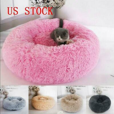 Soft Plush Pet Dog Cat Calming Sleeping Bed Round Nest Warm Comfy And Flufy S-L