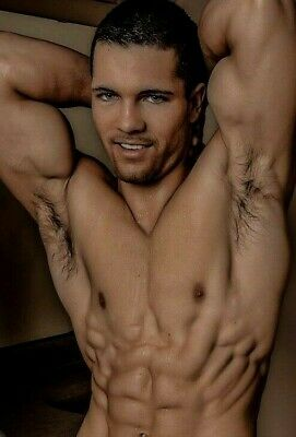 Shirtless Male Beefcake Muscular Flexing Hairy Arm Pits Hot Body PHOTO 4X6 F1899