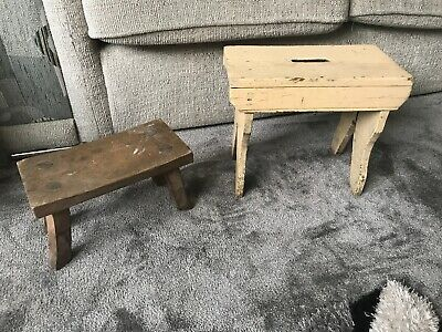 Vintage Rustic Farmhouse Wooden Milking Stools