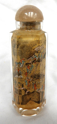 Mid - 20th Century Intricate Inside Painted Hexagonal Snuff Bottle