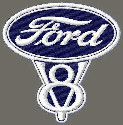 "FORD V8 EMBROIDERED PATCH ~4-1/4"" x 4-1/4"" AUFNÄHER F150 RACING F250 PICKUP F350"