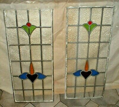 Vintage Stain Glass Window Panels (Pair) - Late 1920's.