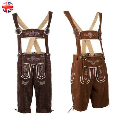 Authentic Brown Suede Mens Bavarian Lederhosen  With Matching Suspenders