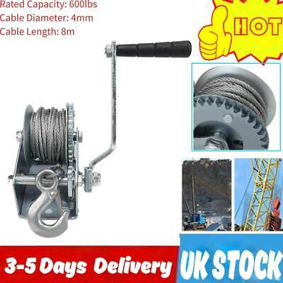 Heavy Duty Hand Winch Puller Truck  600LBS with Steel Wire Rope Lifting Tool UK