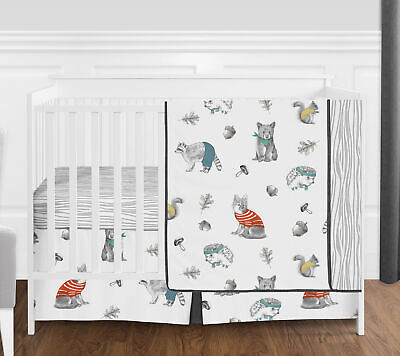Black and Grey Green Neutral Beige Sweet Jojo Designs Bear Raccoon Hedgehog Forest Animal Unisex Boy or Girl Pleated Baby Nursery Crib Bed Skirt Dust Ruffle for Woodland Pals Collection